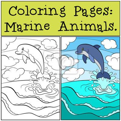 Fotomural Dibujos Para Colorear Animales Marinos Pequeño Delfín Linda