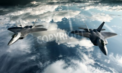 Fotomural Digital imaging of Military plane doing a flight in high attitude