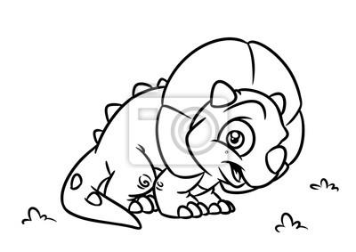 Fotomural Dinosaurio Triceratops Para Colorear Dibujos Animados De Dibujos