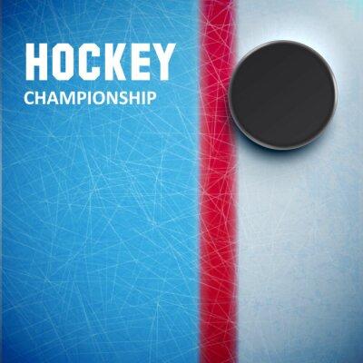 Fotomural Disco de hockey aislado en la vista superior de hielo
