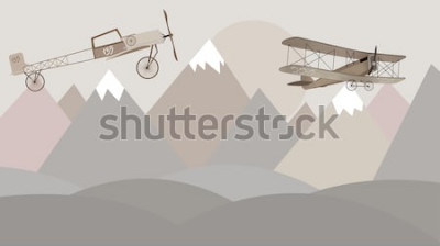Fotomural Diseño de papel tapiz para habitación infantil de montañas y biplanos