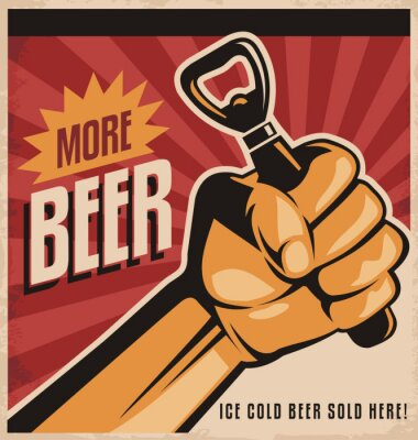 Fotomural Diseño del cartel de la cerveza retro con el puño revolución