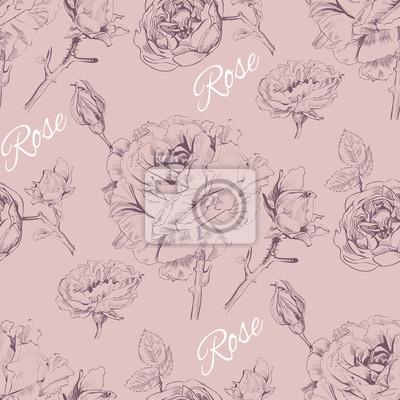 Fotomural Diseño inconsútil de la rosa del gráfico del vintage. Diseño del fondo para los cosméticos color de rosa, almacén de la flor, salón de belleza, productos naturales y orgánicos. Ilustración del vector