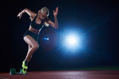 Fotomural Diseño pixelado de mujer sprinter dejando bloques de salida