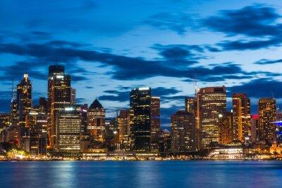 Fotomural Distrito financiero central de Sydney por la noche