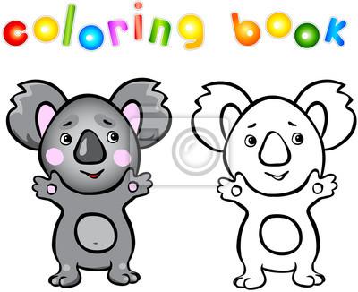 Divertidos dibujos animados de libro para colorear koala fotomural ...