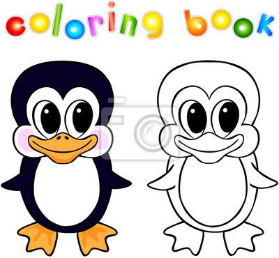 Divertidos dibujos animados de libro para colorear pingüinos ...