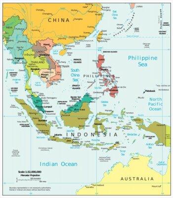 Fotomural Divisiones políticas del sudeste de Asia