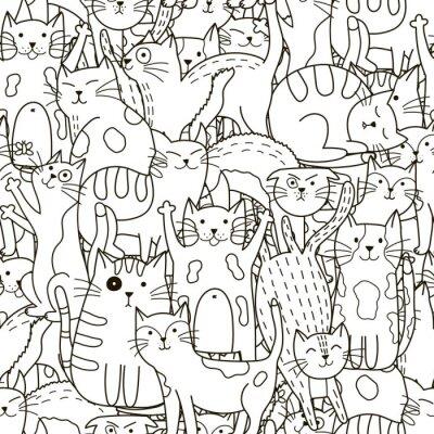 Fotomural Doodle gatos patrón sin fisuras. Fondo blanco y negro lindo de los gatos