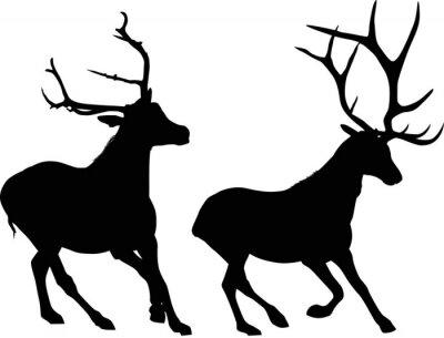 Fotomural Dos corriendo deers negro aislado en blanco