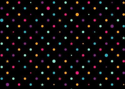 Fotomural Dots Coloridos Fondo Negro Ilustración Vectorial