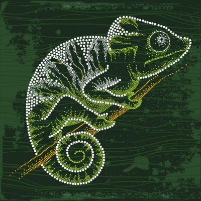 Fotomural Dotted Chameleon sitting on the branch