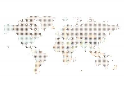 Fotomural Dotted Mapa del mundo de puntos cuadrados