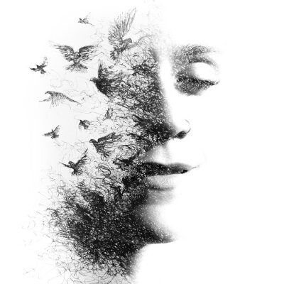 Fotomural Double Exposure portrait of an elegant woman with closed eyes combined with hand made pencil drawing of a flock of birds flying freely resembling disintegrating particles of her being, black