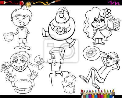Dulces y niños para colorear página de conjunto fotomural ...