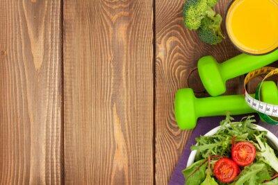 Fotomural Dumbells, cinta métrica y alimentación saludable. Fitness y salud