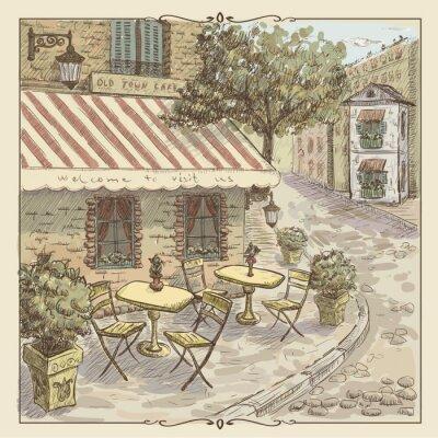Fotomural Ejemplo de la acuarela del vintage del café de la calle en el casco antiguo