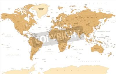 Fotomural Ejemplo de oro del vector del mapa del mundo del vintage político.