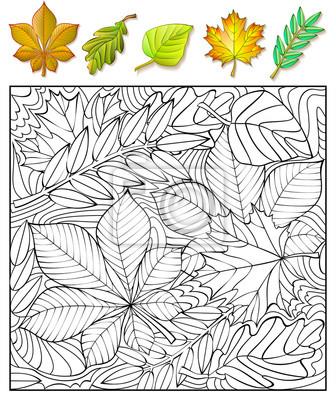 Ejercicios para niños - necesita encontrar y pintar las hojas ...