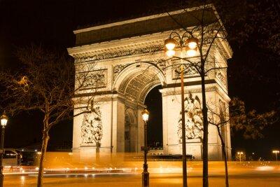 Fotomural El Arco Triunfal en la noche, París, Francia.