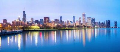 Fotomural El centro de Chicago y el lago Michigan Panorama