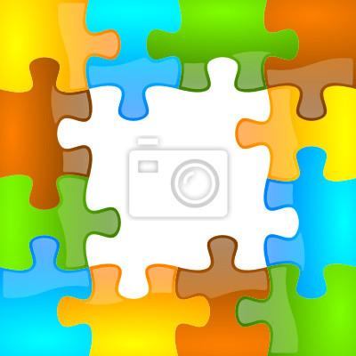 El color y rompecabezas brillante marco 4 x 4 fotomural ...