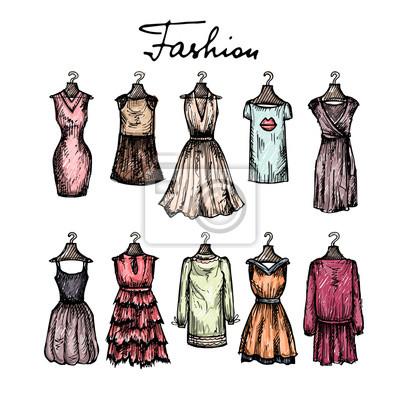 El Ejemplo Lindo Dibujado A Mano Con Los Vestidos De Moda