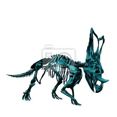 El esqueleto del dinosaurio triceratops, dibujo de color azul ...