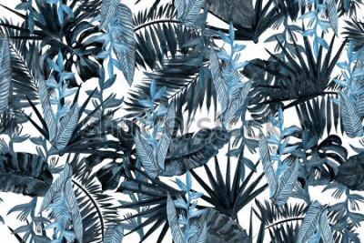 Fotomural El estampado de flores oscuro azul sale del fondo. Strelizia tropical de las hojas de la hoja de palma y del plátano. Acuarela que pinta el modelo inconsútil del ejemplo tropical de las hojas.