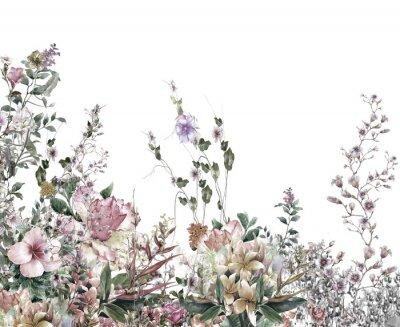 Fotomural El extracto florece la pintura de la acuarela. Primavera flores multicolores