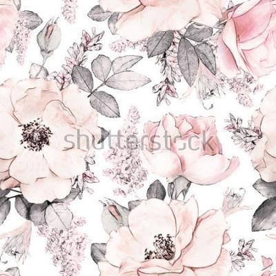 Fotomural El modelo inconsútil con las flores y las hojas rosadas en el fondo blanco, estampado de flores de la acuarela, flor subió en color en colores pastel, enlosables para el papel pintado, la tarjeta o la