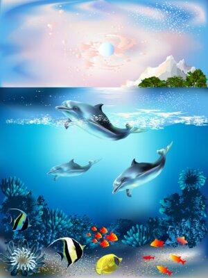 Fotomural El mundo bajo el agua con los delfines y las plantas