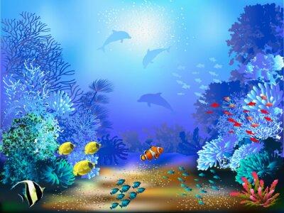 Fotomural El mundo submarino con peces y plantas