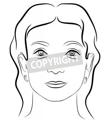 El rostro de mujer joven de dibujo en blanco y negro 3 fotomural ...