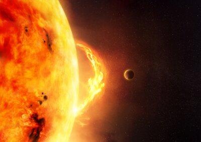 Fotomural El sol - llamarada solar. Una ilustración de la llamarada del sol y del sol con un planeta para dar la escala al tamaño de la llamarada.