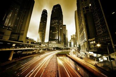 Fotomural el tráfico en Hong Kong en la puesta del sol