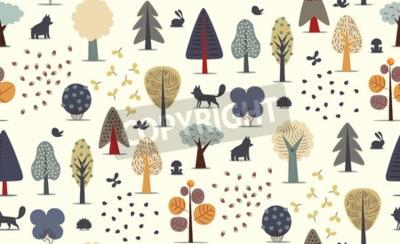 Fotomural El vector ilustrado sin patrón de elementos de bosque plano - varios árboles, animales salvajes y semillas.