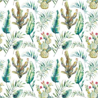 Fotomural El verano de la palmera, el cactus y el plátano deja el modelo inconsútil. Acuarela ramas verdes y flores suculentas sobre fondo blanco. Diseño de papel tapiz exótico