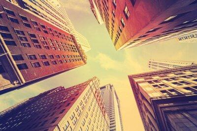 Fotomural El vintage entonó los rascacielos en Manhattan en la puesta del sol, NYC.