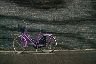 Fotomural El vintage púrpura clásico inconformista de bicicletas en la calle