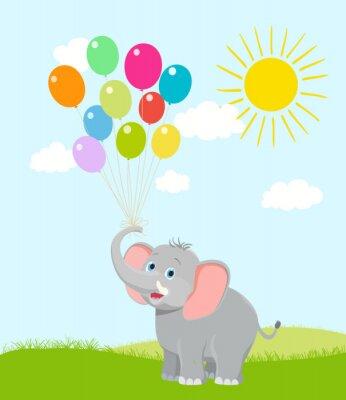 Fotomural Elefante del bebé con los globos, las nubes y el sol. Vector de dibujos animados. tener suerte