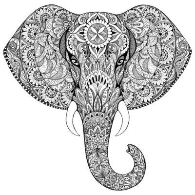 Fotomural Elefante del tatuaje con los patrones y adornos
