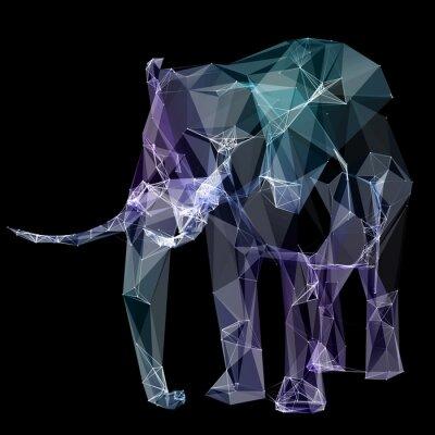 Fotomural Elefante en el diseño del polígono. Ilustración digital. Concepto