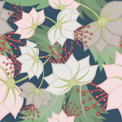 Fotomural Elegant vector seamless pattern with lotus flowers. Vintage floral romantic texture. Abstract botanical ornament, natural wallpapers in Asian style. Repeat background design for tileable print, fabric