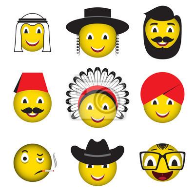 Emoticones De Avatar Iconos Emoticon Emoji Fotomural Fotomurales