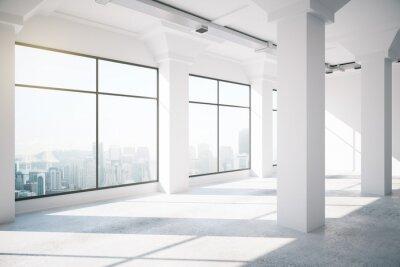 Fotomural Empty blanco loft interior con grandes ventanas, 3d