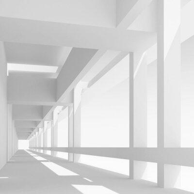 Fotomural Empty white corridor perspectiva, ilustración 3d