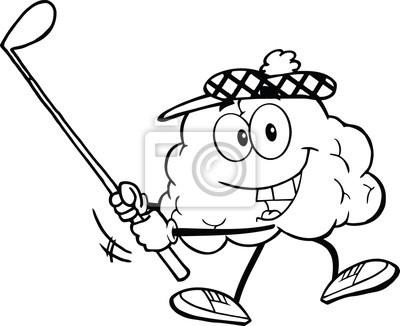 Esboz sonrer cerebro de dibujos animados un tiro de golf