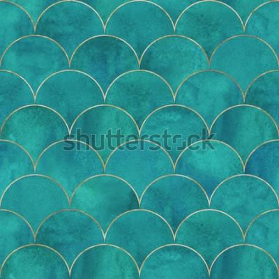 Fotomural Escama de pez sirena ola japonesa lujo de patrones sin fisuras. Dibujado a mano acuarela turquesa oscuro fondo turquesa con línea de oro. Escala de acuarela en forma de textura. Imprimir para textil,