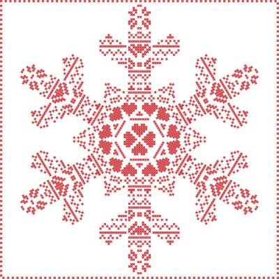 Fotomural Escandinavo Cruz nórdica costura, tejer patrón de Navidad en forma de copo de nieve, con marco de punto de cruz incluyendo, nieve, corazones, estrellas, elementos decorativos en rojo sobre fondo blanc